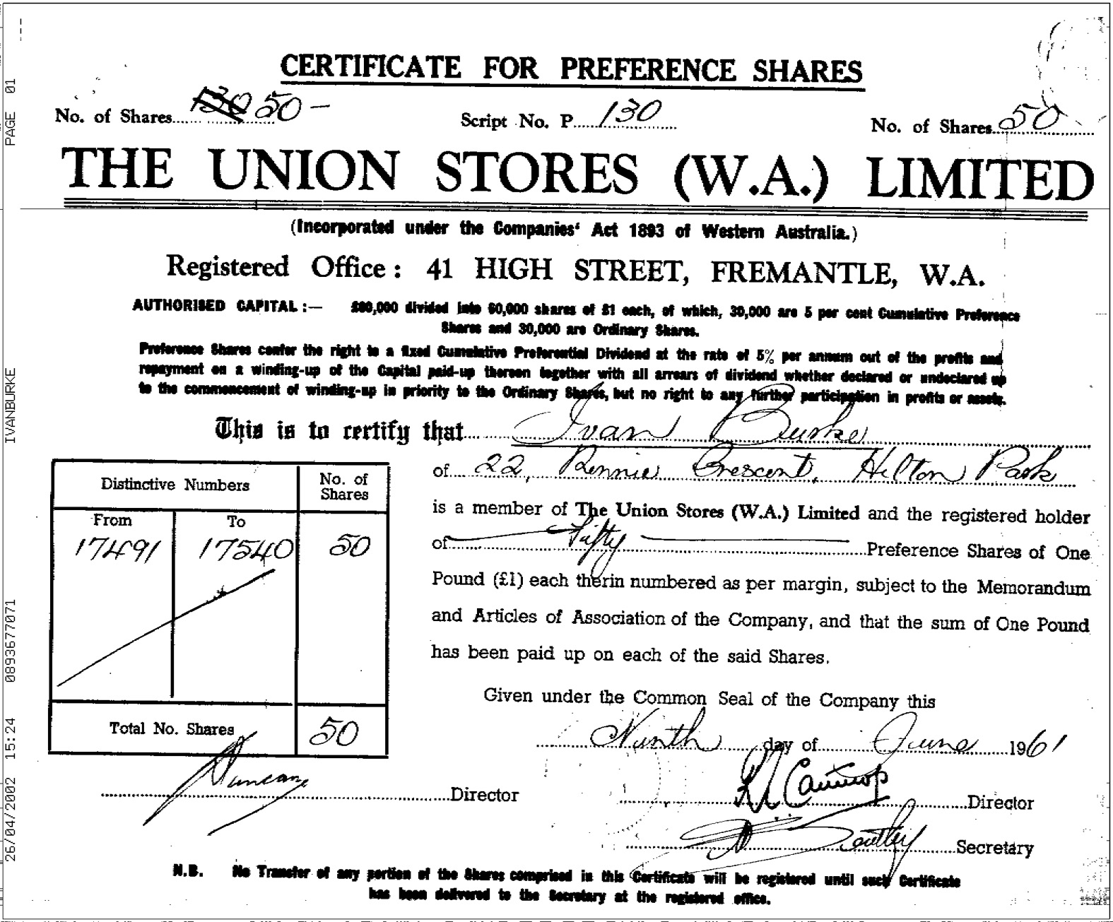 Union Stores Share Certificate